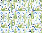 Cactus Fabric - quilting cotton with bright green saguaro cactus, prickly pear, and raindrops, choice of fat quarter or yard