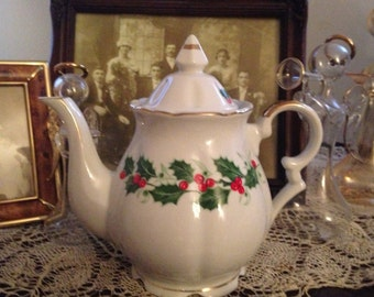 Vintage Norcrest China Holly and Berries Teapot