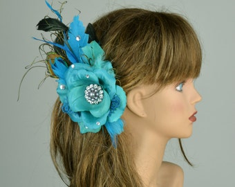 Turquoise Bridal Hair Clip Wedding Accessory Crystals Feathers Bridal Fascinator Bridal Accessory