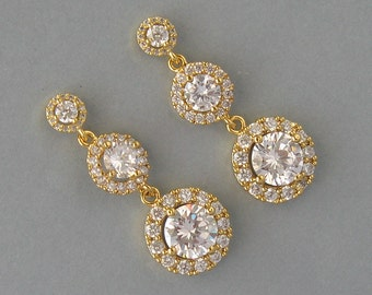 Cubic Zirconia, Gold Plated Over Brass, Bridal Earrings, Yellow Gold Plated Earrings, Round Earrings, Daisy, Clear, Bridesmaid Gift - DK763