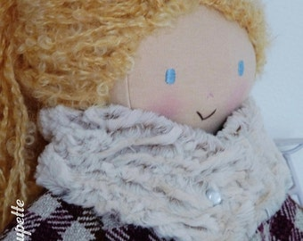 Rose, rag doll of 50 cm - fabric doll - blonde doll - rag doll - handmade doll - cloth doll - fabric doll