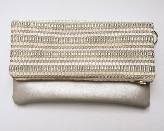 White and Metallic Silver Woven Leather Fold Over Clutch