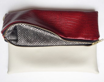 Crimson and Cream Lined Fold Over Clutch