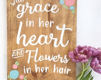 Hand painted wood sign- With grace in her heart
