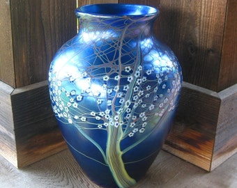 Very Large Orient & Flume Glass Hawthorn Vase, Iridescent Blue with Millefiori, Collectible Art Glass