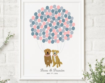 Unique Guest Book Alternative with Dogs - Personalized wedding Guest Book -  Guest Book Idea - Guest Sign in Board - CANVAS Guest Book
