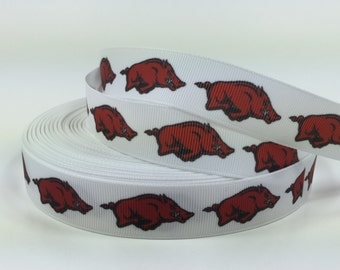 "BTY University of Arkansas Razorbacks Football 7/8"" Grosgrain Ribbon Great for Hair Bows Pacifier Clips Lanyards Scrapbooking Birthday Lisa"