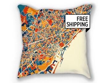 Barcelona Map Pillow - Spain Map Pillow 18x18