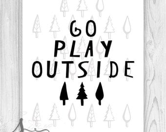Kids Typography, Go Play Outside, Typographic poster, Playroom wall art, Nature, Kids poster, Kids art, Forest art, Boys wall art, Trees