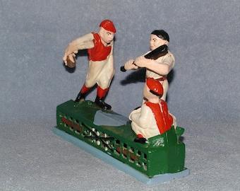Mechanical Bank Cast Iron - Home Town Battery - Baseball Theme