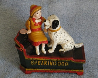 Mechanical Bank Cast Iron - Speaking Dog