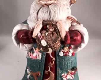 Santa Claus Christmas Vintage Hand-Painted Ceramic  Decoration 1994 Holiday Decor