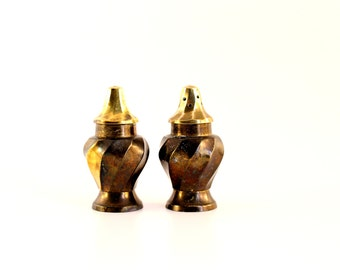 Vintage Brass Salt and Pepper Shakers