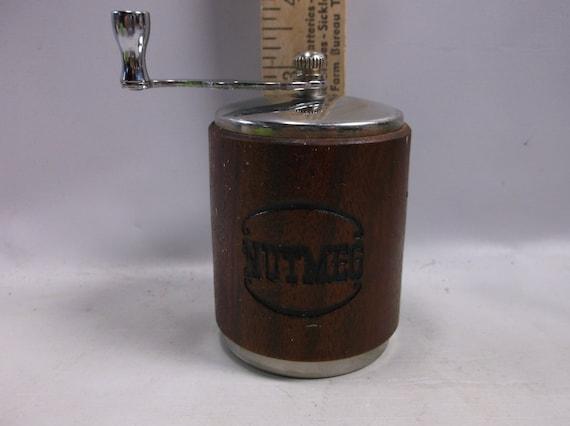 Vintage Nutmeg Spice Grinder Wood And Chrome Mid Century