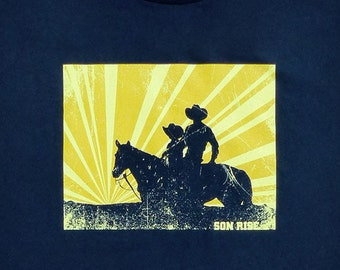 SALE - Cowboy Father Son Horseback Daddy Graphic Tee - Son Rise - 2X 3X