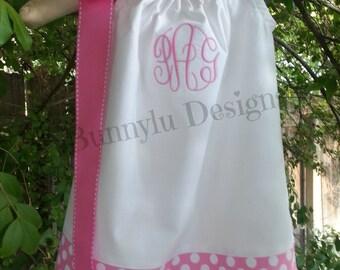 Girls Pillowcase Dress, Ribbon Dress, Pink Dress, Polka Dot, Monogrammed Ribbon Dress. Sizes 12mo-8yrs