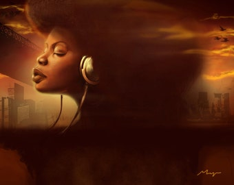 Afro Woman Urban Artwork Musical Hip Hop Wall Art Black Woman Painting by Sheeba Maya