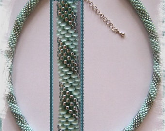14 Beaded crochet necklace - necklace - Pearl - crochet chain