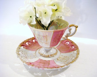 Pink and white tea cup, lusterware teacup, pierced saucer, ornate tea cup, shabby chic decor. footed teacup