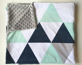 Navy mint grey triangles minky baby blanket - faux fur - boy nursery gender neutral baby boy - geometric - boy baby shower gift
