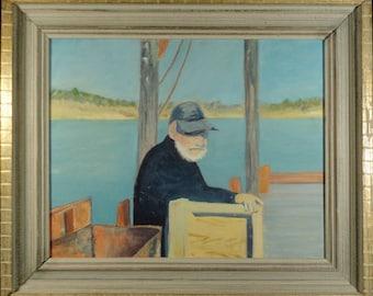 VINTAGE OIL PAINTING American Folk Art Original Portrait Fisherman Old Man Coastal Beach Seaside Decor Ocean Artwork Primitive Impressionist