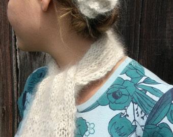 Hand Spun and Knit Angora Scarf and Bonus Flower Pin
