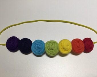 Rainbow Headband , Rosettes headband ,Rainbow Rosettes Headband,Rainbow Dash Headband