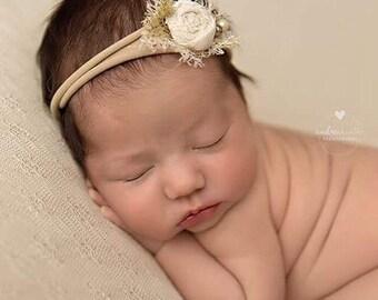 Beige Cream Baby Headband ,Nylon Elastic Cream Risette headband ,Newborn Ivory beige headband