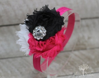 Hot Pink Headband - Hot Pink Black and White Headband - Three Flower Headband with Rhinestone Center - Baby Headband - Adult Headband