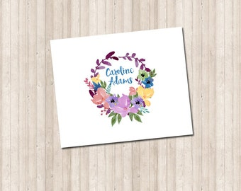 Water Color Floral Wreath Folded Thank You Note Card - name or monogram