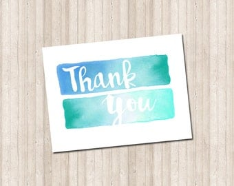 Water Color Folded Thank You Note Card - Printable