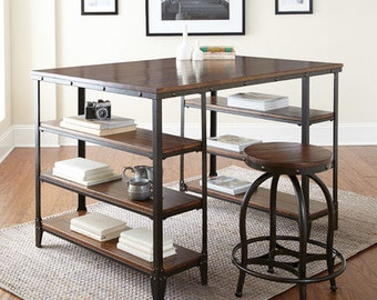 Counter height table etsy for Counter height craft table with storage