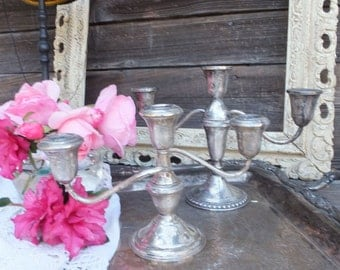 Pr of Lovely Mismatched Shabby Vintage Sterling Candlestick, Duchin Sterling and AMC Sterling Silver