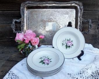 Vintage Embassy USA Vitrified China Pink Rose Bowls, Set of Six (6)  Salad or Soup Bowls