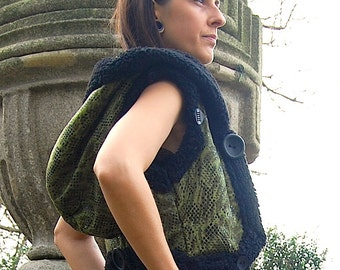 SALE  Little vest with big hoody in green false leather with polar fur linen