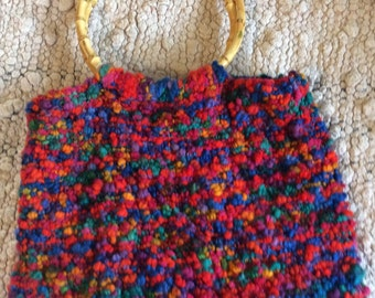 Hand Knit Wool Tote