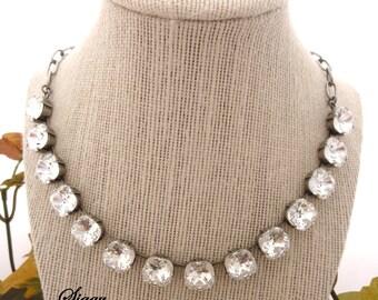 "Swarovski crystal necklace, 12mm cushion cut, Clear crystal choker ""EXTRAVAGANCE"" Siggy Jewelry"