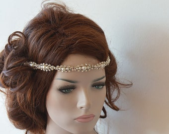 Wedding Hair Accessories,  Rhinestone and Pearl  headband, Bridal Headband, Wedding headband, Bridal Hair Accessory