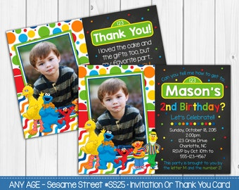 Sesame Street Invitation OR Thank You Card Personalized Digital file, Printable Photo Invites