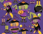 80% OFF SALE Halloween clipart commercial use, witch clipart vector graphics, witches digital clip art, wand digital images - CL1014