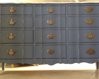 SOLD - -  Refinished Vintage French Provincial navy Dresser