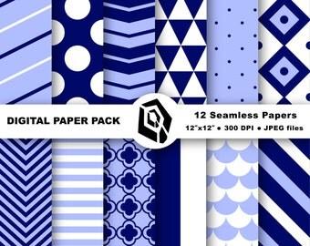 Blue and white digital paper pack - navy blue and white paper, printable paper, digital download, geometric paper, digital scrapbooking