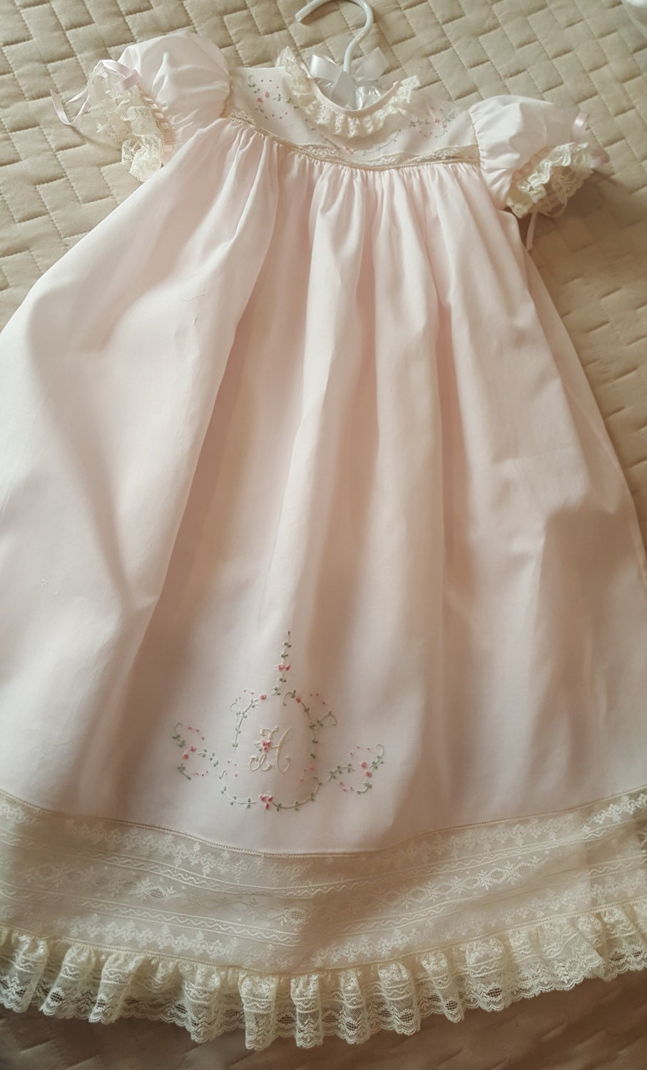 Long baby dress with hand embroidered yoke and skirt front
