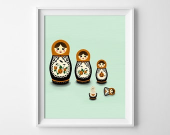 Matryoshka Doll Art - Matryoshka Illustration - Halloween Art - Matryoshka Mummy - Nesting Doll Art