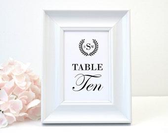 PRINTED Wedding Table Number, White Shimmer, Script, Black, Monogram, Calligraphy, Simple, Rustic, Elegant, LAUREL WREATH Design