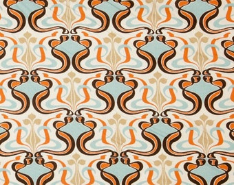 SALE - Glam Sweet Potato on Natural Premier Prints Fabric - One Yard - Home Decor Fabric - Light Aqua Blue, Orange, Brown and Natural