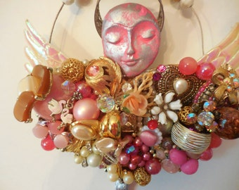 Costume Junk Jewelry Assemblage, Pink Angel, Teenage Girl Wall Decor, Mixed Media Collage, Angel Wings Sculpture, Angel Sculpture, Pink Art