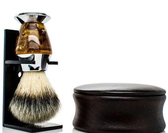 Personalized shaving kit - Vegan shaving kit - Synthetic shaving brush - mens christmas gifts - wood shaving bowl - mens gifts - for dad