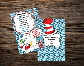 Dr. Suess Inspired Baby Shower Invitation, One Fish, Two Fish, Thing One, Thing Two