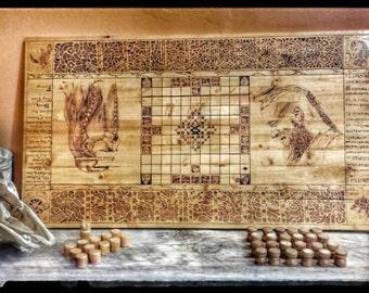 Hnefatafl Board Game, Vikings Game, Kings Table, Tafl, Wood Burnt Wood, Scandinavian Game, Odin, Viking Chess